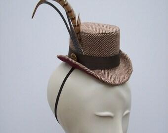 Brown and Cream Herringbone Mini Top Hat