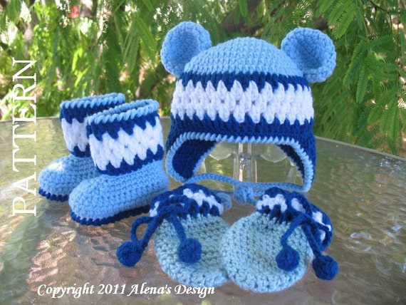 Crochet PATTERN Set -  Blue Bear Hat, Baby Booties, Baby Thumb-less Mittens - Baby Boy -Toddler Hat Ear Flap - Bear Ears - Booties - Mittens