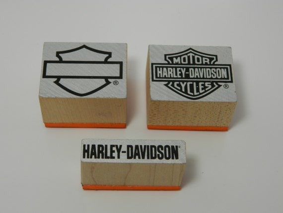Harley Davidson Logo Wood Mounted Rubber Stamp Set