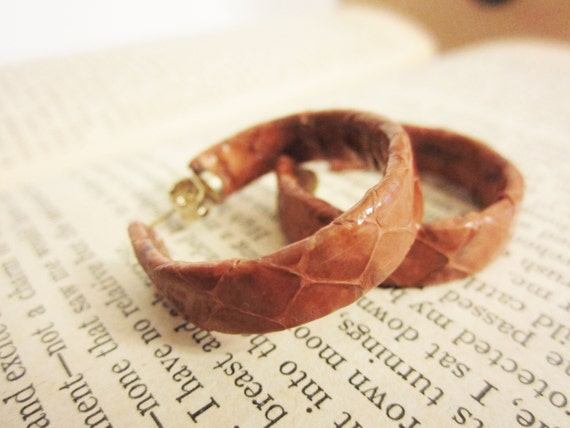 RESERVED - Hoop Earrings - Vintage Faux Leather Light Brown