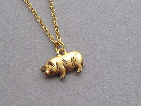 gold pig necklace small hog charm minimalist animal jewelry