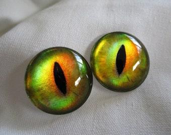 Dragon eyes metallic shiny glass cabochons 30mm