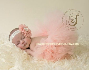 Sweet Vintage Peach Tutu Set Newborn Tutu Peach Tutu And Headband Peach Tutus Peach Newborn Tutu Peach Baby Girl Tutu Newborn Photo Prop