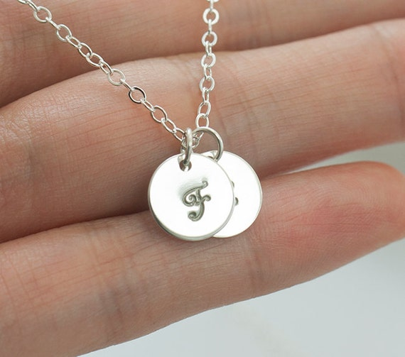 Double Initial Silver Necklace, Personalized jewelry letter charm, sterling silver, everyday jewelry, bridesmaid gifts - Fifi LaBonge -