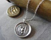 Eagle Wax Seal Necklace - antique wax seal charm jewelry French motto Actions Speak Louder Than Words by RQP Studio