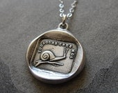 Snail Wax Seal Necklace - antique wax seal charm jewelry Always At Home French motto Close To Heart by RQP Studio