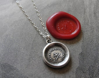 I Only Sing For You - wax seal necklace with tiny song bird on tree branch - antique wax seal jewelry