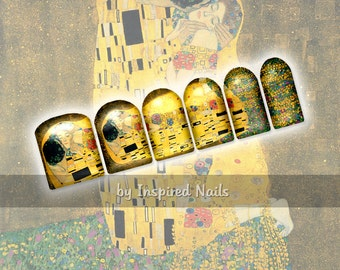 The Kiss by Klimt Nail Art Set of 24 Full Nail Fusion Decals by Inspired Nails