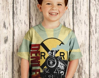 Personalized Train Shirt, Boys Steam Engine Birthday T-Shirt, Top