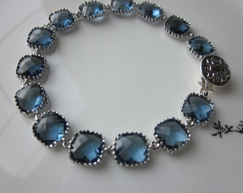 Sapphire Navy Bracelet Blue Silver Plated - Glass Square Blocks - Bridesmaid Bracelet - Bridal Bracelet - Wedding Jewelry