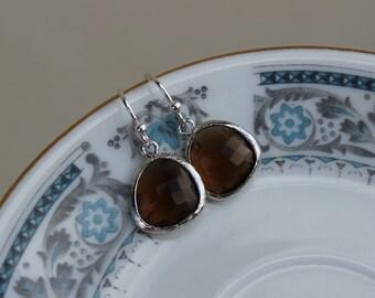 Smoky Brown Earrings Silver Plated - Sterling Silver Earwires - Bridesmaid Earrings - Bridal Earrings - Wedding Jewelry