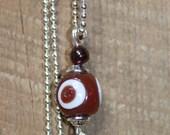 Garnet & Oxblood Evil Eye Pendant Red Good Luck Pendant