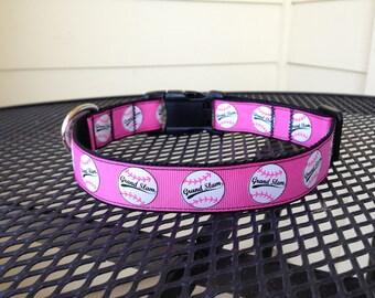 Dog Collar Made from Pink Baseball Ribbon