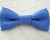 Bowtie for Newborn, Infant/Toddler, Youth - Periwinkle blue linen bowtie, wedding birthday photo prop, father son sibling sets ring bearer