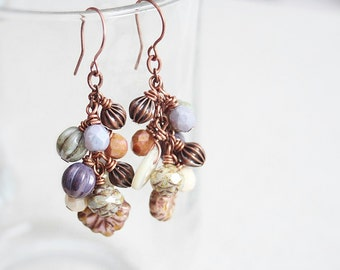 SALE Featured Jewelry Affaire Magazine Beaded Cluster Wire Wrapped Earrings Czech Glass Copper MOP Buttons Boho Vintage Shabby Chic Spring