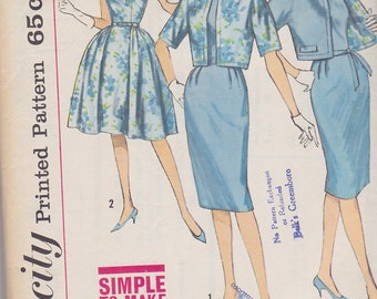 1960s Mad Men Dress Vintage Pattern, Simplicity 4630, Full or Slim Wiggle Skirt, Sleeveless with Round Neckline, Reversible Jacket