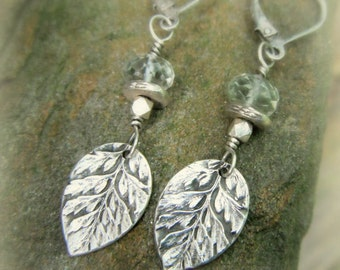 Woodland Fern and Green Amethyst Earrings - Real Leaf Earrings - Silvan Leaves - Botanical - Handcrafted with Recycled Fine Silver