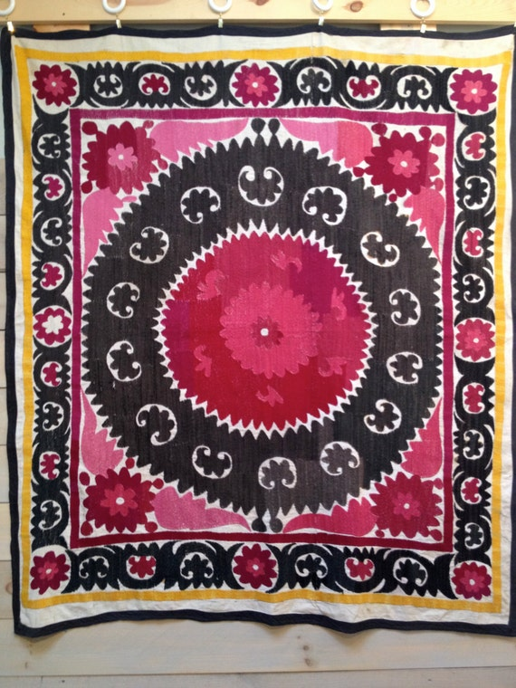 Vintage pink and black Uzbek Suzani