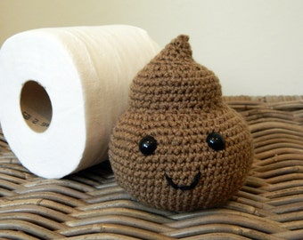 Poopy amigurumi plush with cute smiley face kawaii crochet gag gift piece of crap poo brown poop his hers bow