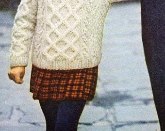 Children's Knitting Pattern for Child's Irish Aran Fisherman Chain-Pattern Turtleneck Sweater (PDF)