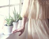 Ivory Lace Capelet Vintage Wedding Dress - Juliet
