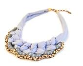 SALE Light Purple Statement Necklace, Collar Necklace, Fabric Crochet Necklace, Lavender Fabric Bib, Grey Yarn and Oxidised Chain