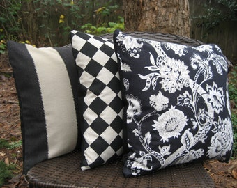 """Pillow Cover--16"""" Black Linen Pattern--Wide Stripe, Diamond Harlequin or Floral"""