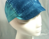 Cycling cap- Light & Dark Blue Tie-Dye