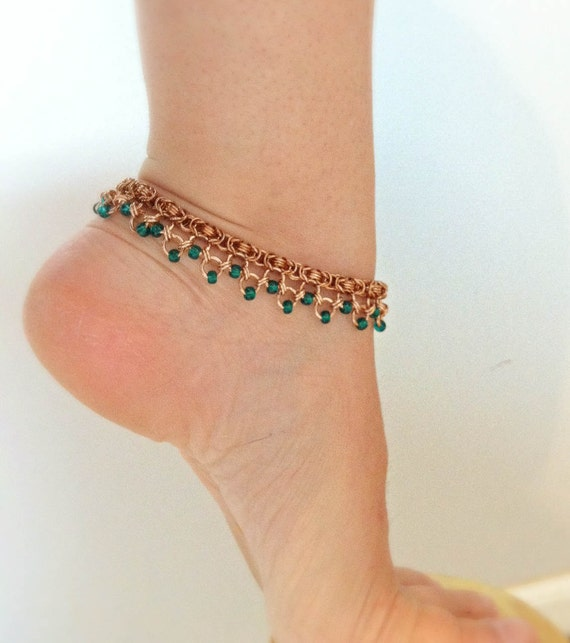 Gypsy Dancer Bronze Byzantine Anklet with Teal Beads - Ready to Ship