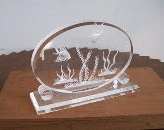 Vintage lucite sculpture aquarium reverse carved hand carved fish and plants 1960s aquarium