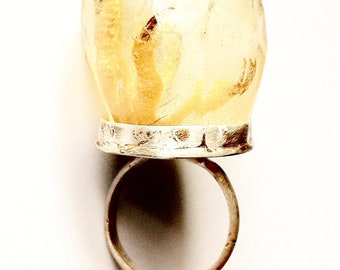taxidermy curio ring in sterling silver with preserved specimen, prism cast resin ring - THE MYSTIC