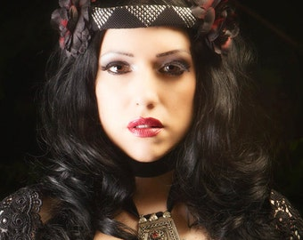 Black/Red Flower & Assuit Headdress / Tribal / Art Nouveau / Belle Epoque