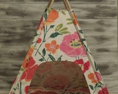 Dog Tent/Cat Teepee-Vintage Kandy Tenthouse Suites -  Doll House - repurposed pottery barn kids floral - pink, geen, red, orange, cream