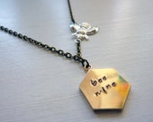 Bee Mine or Buzz Off Conversation Heart Necklace - Unique Valentines Day Necklace with Bumble Bee by Weirdly Cute Jewelry