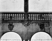 Architecture Photograph - Black and White, San Diego, Balboa Park, California, Texture, Lights, Night, Shadows, Contrast, Arch, Balcony, Art