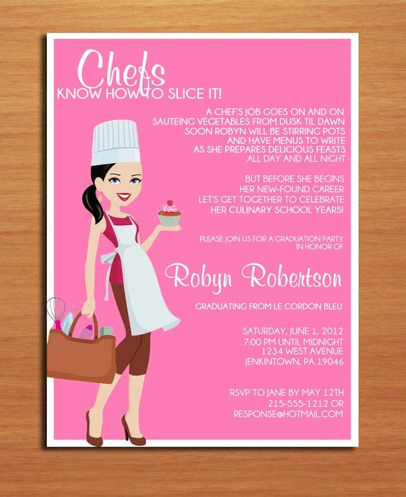 culinary    pastry chef degree graduation party invitation