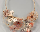 Wedding butterflies statement necklace. Whimsical textile jewelry for fairy wedding. Spring papillon fiber art bijoux.