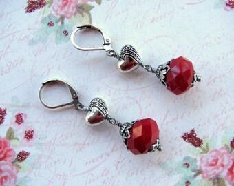Heart Dangle Earrings, Red Heart Earrings, Valentine Earrings, Red Earrings, Heart Earrings, Holiday Earrings, Valentine Jewelry, Heart