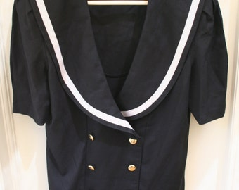1980's Black Short Sleeved Sailor Style Jacket Blazer