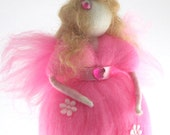 Waldorf Fairy Needle Felted Pink Fairy Ornament Fairytale Decoration Soft Sculpture Art Doll