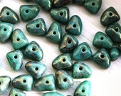 Turquoise green czech beads, rustic picasso finish with luster, glass spacers, triangle - 5x7mm - 25Pc - 2658