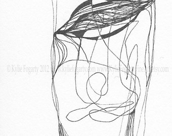 "Tiny Drawing - Black and White, ACEO, Abstract Line Drawing, Abstract Art, ""Half Full or Half Empty?"", Original Art - Unique Gift"