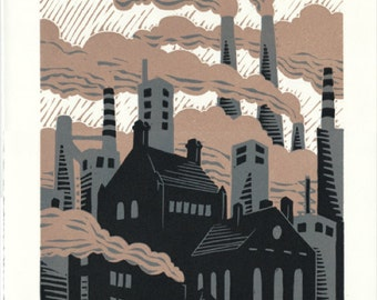 Invisible Sun - Factories Linocut Print
