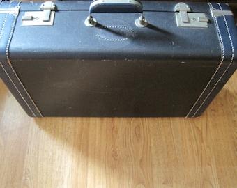 Vintage Liebermann Navy Blue Leather Suitcase
