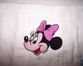 Embroidered Minnie Mouse Diaper Burp Pad