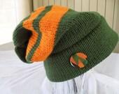 KENTE SLOUCH HAT - Green & Orange - Adult size