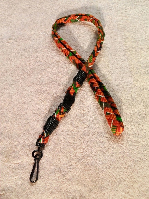 KENTE BRAIDED LANYARD with Buckle for quick release - Unique, Sturdy, Braided Textured Style - Cotton Ribbon in African Kente