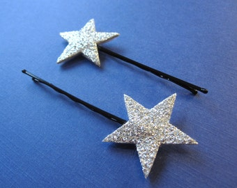 Shooting Star Hairpins - Set of 2 Sparkling Accessories in Silver or Gold