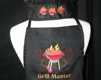 PERSONALIZED Adult BBQ Apron and Chef's Hat