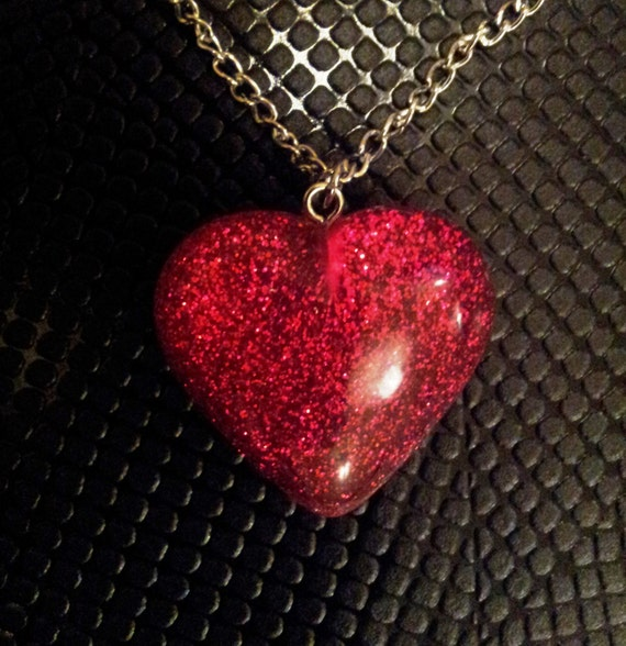 Large Glitter Sparkle Red Heart Pendant on a Silver Colour Chain Necklace Gothic Steampunk Emo Punk